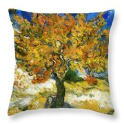 The Mulberry Tree After Van Gogh Throw Pillow