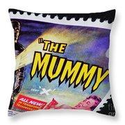 The Mummy Postage Stamp Print Throw Pillow