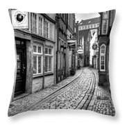 The Narrow Cobblestone Street Throw Pillow