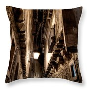 Narrow Street In Albarracin Throw Pillow