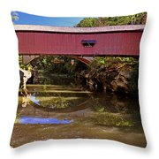 The Narrows Covered Bridge 1 Throw Pillow