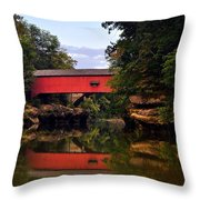 The Narrows Covered Bridge 5 Throw Pillow by Marty Koch