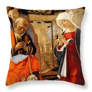 The Nativity With The Annunciation To The Shepherds In The Distance Throw Pillow