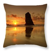 The Needles At Haystack - Cannon Beach Sunset  Throw Pillow
