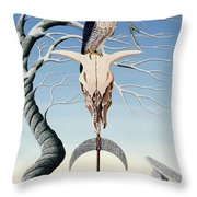 The Neolithic Totem Oil On Canvas Throw Pillow
