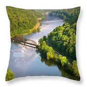 The New River From Hawks Nest Throw Pillow
