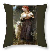 The Newborn Lamb Throw Pillow