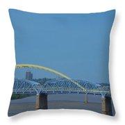 The Newport Southbank Bridge Throw Pillow