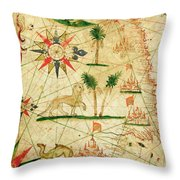 The North Coast Of Africa, From A Nautical Atlas, 1651 Ink On Vellum Throw Pillow