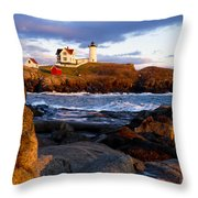 The Nubble Lighthouse Throw Pillow