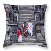 The Nyatapola Temple At Bhaktapur In Nepal Throw Pillow