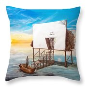 The Occult Listen With Music Of The Description Box Throw Pillow by Lazaro Hurtado