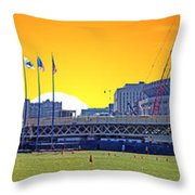The Old And New Yankee Stadiums Side By Side At Sunset Throw Pillow