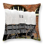 The Old Army Wagon Throw Pillow