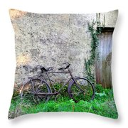 The Old Bike In The Irish Countryside Throw Pillow