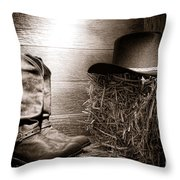 The Old Boots Throw Pillow by Olivier Le Queinec