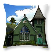The Old Church In Hanalei Throw Pillow