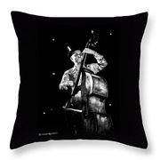 The Old Contrabass Player Throw Pillow by Stwayne Keubrick