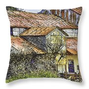 The Old Cotton Barn Throw Pillow by Barry Jones