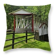 The Old Covered Bridge Throw Pillow