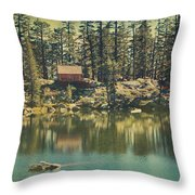 The Old Days By The Lake Throw Pillow
