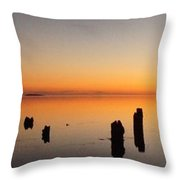 The Old Dock At Sunset Throw Pillow