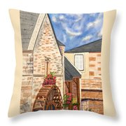 The Old French Mill Watercolor Art Prints Throw Pillow