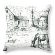 The Old Horse Farm Throw Pillow