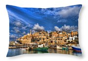 the old Jaffa port Throw Pillow by Ron Shoshani