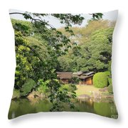 the old Japanese House by the water Throw Pillow