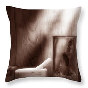 The Old Lavender Artisan Shop In Sepia Throw Pillow