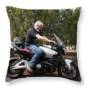 The Old Man On The Motorcycle Throw Pillow