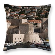The Old Port Of Dubrovnik Throw Pillow
