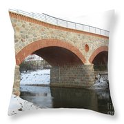 The Old Railway Bridge In Silute. Lithuania. Winter Throw Pillow