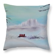 The Old Red Barn In Winter Throw Pillow
