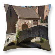The Old Stone Bridge In Bruges Throw Pillow