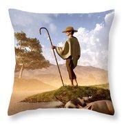 The Old Swineherd Throw Pillow