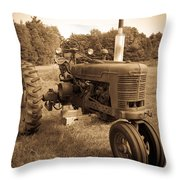 The Old Tractor Sepia Throw Pillow