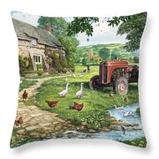The Old Tractor Throw Pillow by Steve Crisp