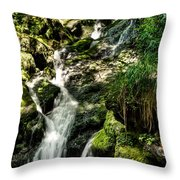 The Old Troll Caught By The Sun Admiring The Forest Waterfall Throw Pillow