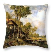 The Old Windmill Near Barbizon Throw Pillow