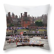 The Olympic Torch Leaves Hampton Court On The Final Leg Of Its J Throw Pillow