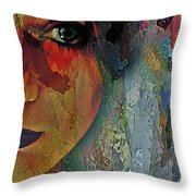 The Other Left Abstract Portrait Throw Pillow