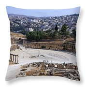 The Oval Plaza At Jerash In Jordan Throw Pillow