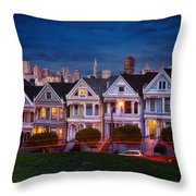 The Painted Ladies Of San Francsico Throw Pillow