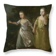 The Painter's Daughters Chasing A Butterfly Throw Pillow