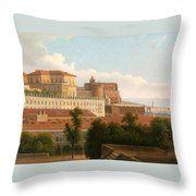The Palazzo Reale And The Harbor. Naples Throw Pillow