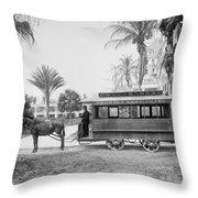The Palm Beach Trolley Throw Pillow