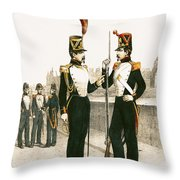 The Parisian Municipale Guard, Formed 29th July 1830 Coloured Engraving Throw Pillow