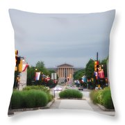 The Parkway And Art Museum Throw Pillow